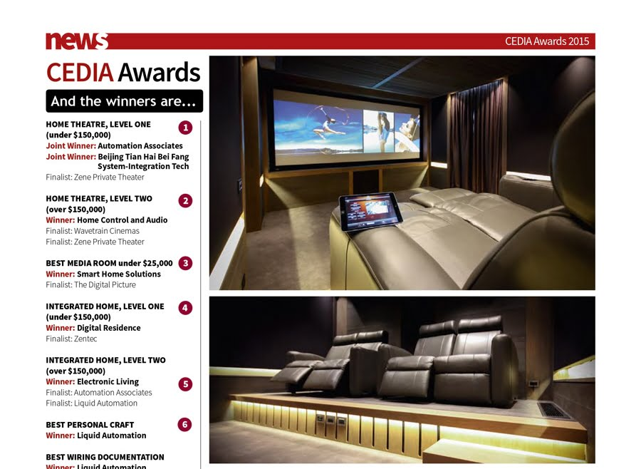 'CEDIA Awards 2015' – Sound & Image Magazine